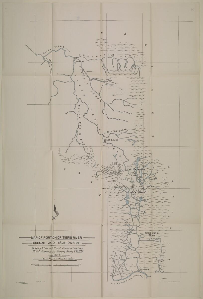 Map of portion of Tigris River QurhanQalat SalihAmarah Showing