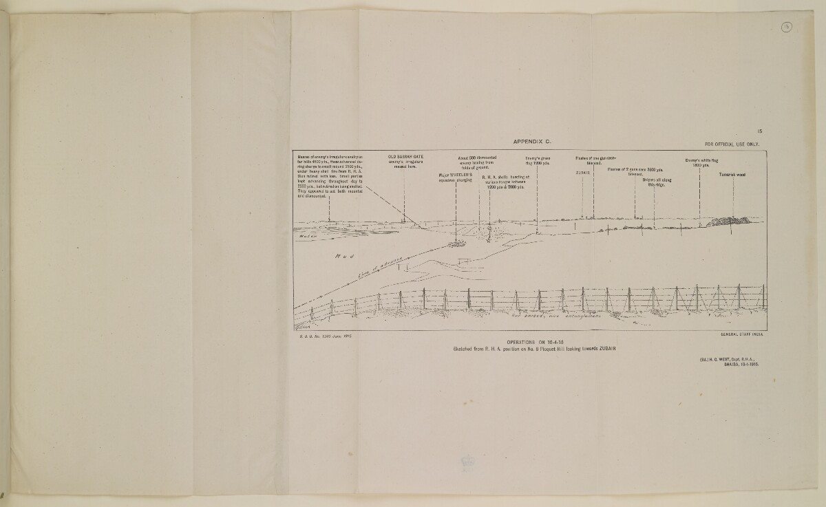 'Operations on 12 April 1915 Sketched from R.H.A. position on No. 8 Picquet Hill Looking Towards Zubair' [‎15] (1/1)