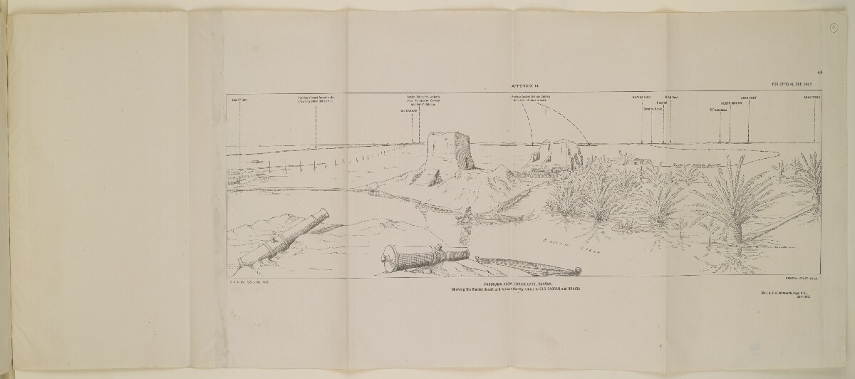 'Panorama from Zubair Gate, Basrah. Shewing the Flooded Desert and Various Convoy Routes to Old Basrah and Shaiba' [‎44] (1/1)