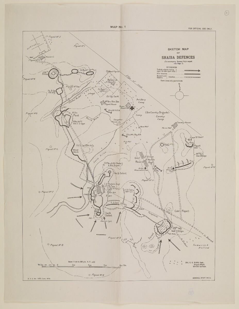 'Map No. I. Sketch Map of Shaiba Defences' [45] (1/1)
