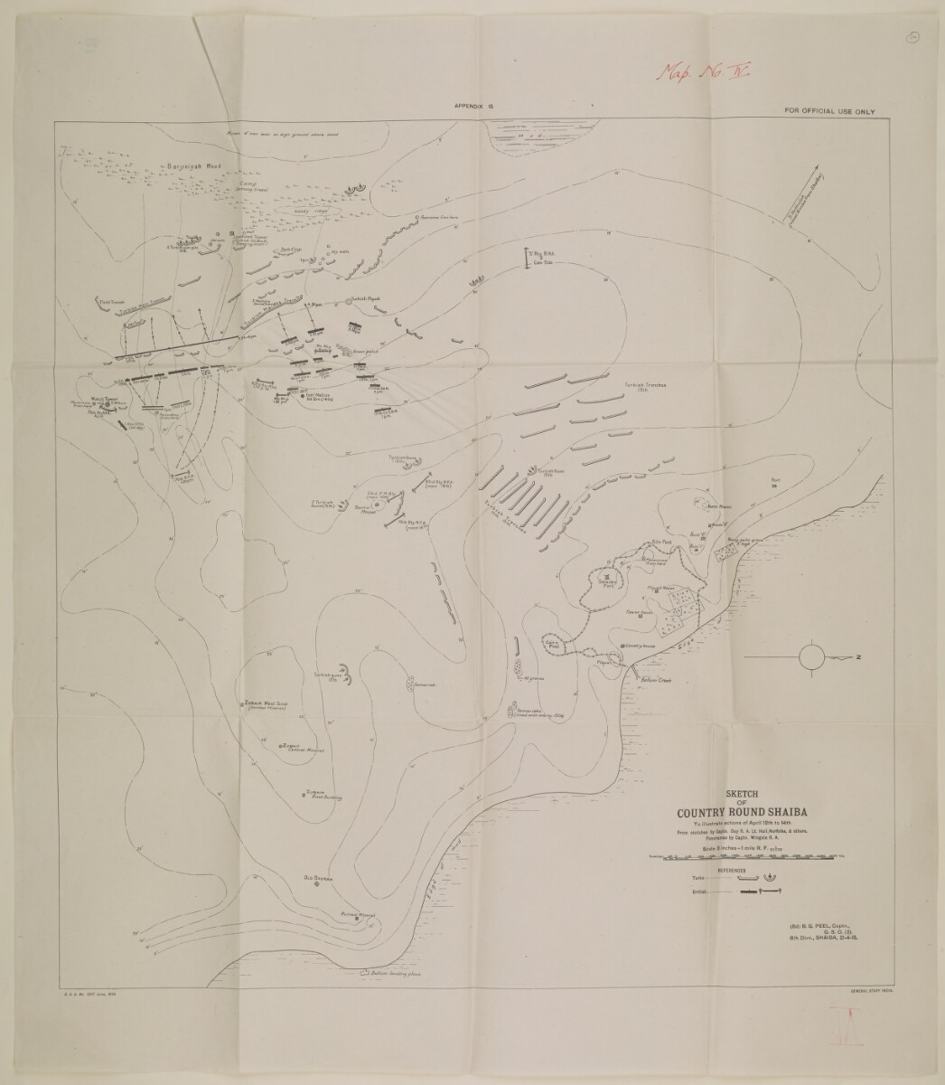 'Sketch of Country Round Shaiba To Illustrate Actions of April 12th to 14th From Sketches by Captain Day R.A. Lieutenants Hall, Norfolks, & others. Panoramas by Captain Wingate R.A.' [‎48] (1/1)