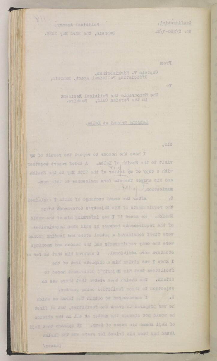 'File 7/2 IV R.A.F. Landing Grounds & Anchorages' [118v] (251/550)