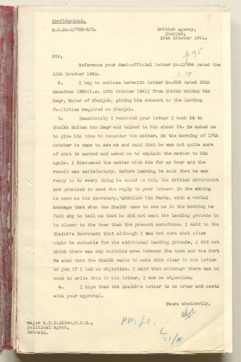 'File 7/2 VI Landing grounds and seaplane anchorages' [98r] (214/618)
