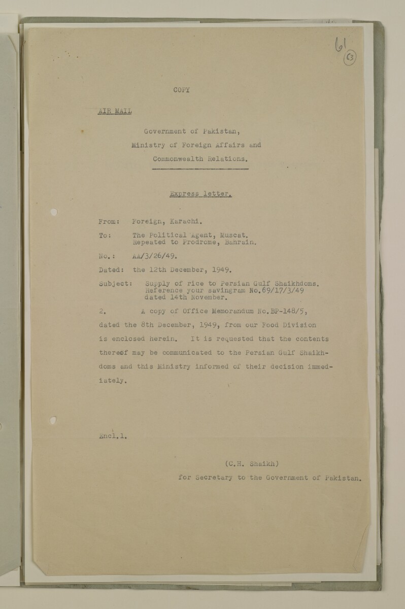 'File 29/21 - IV FOOD SUPPLY RICE' [63r] (125/194)