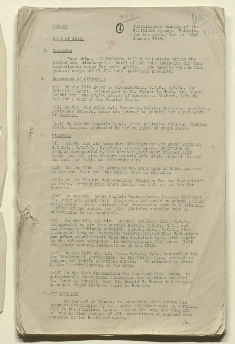 File 8/16 Bahrain Intelligence Summary' [ 2r] (3/108