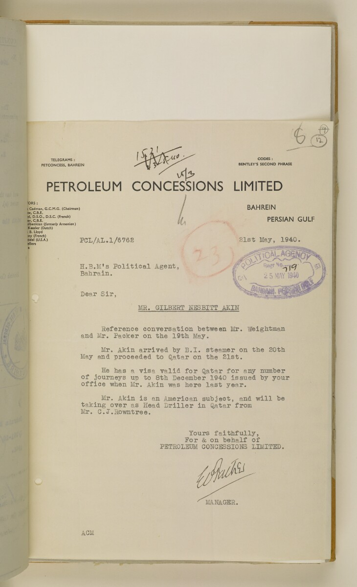 'File 38/3 I, P. C. L. Qatar Concession' [12r] (28/484)