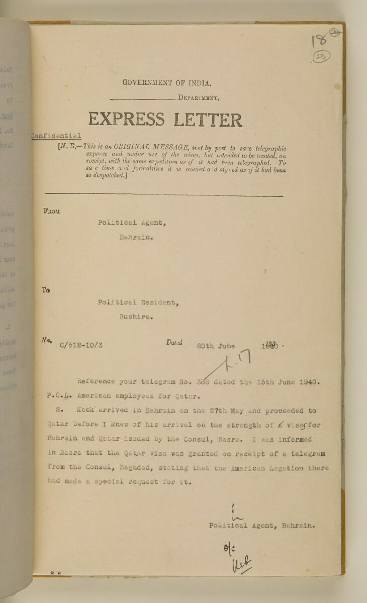 'File 38/3 I, P. C. L. Qatar Concession' [23r] (50/484)