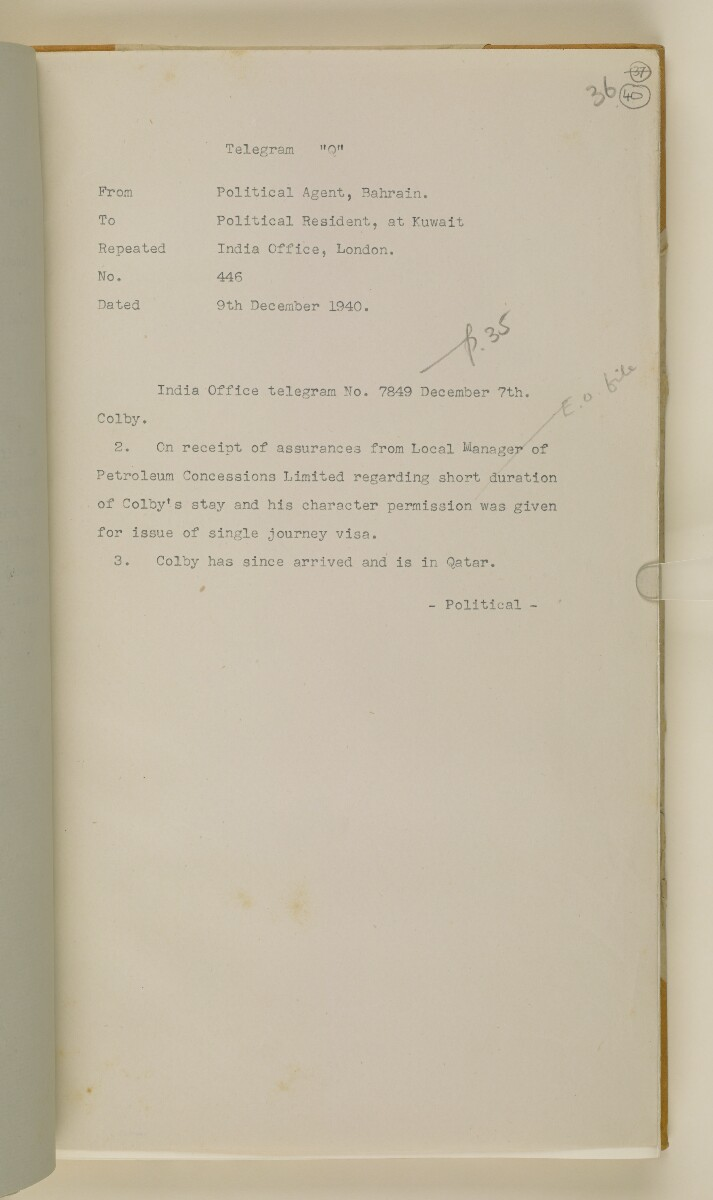'File 38/3 I, P. C. L. Qatar Concession' [40r] (84/484)