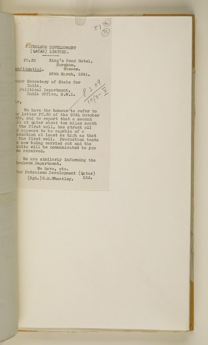 'File 38/3 I, P. C. L. Qatar Concession' [55r] (114/484)