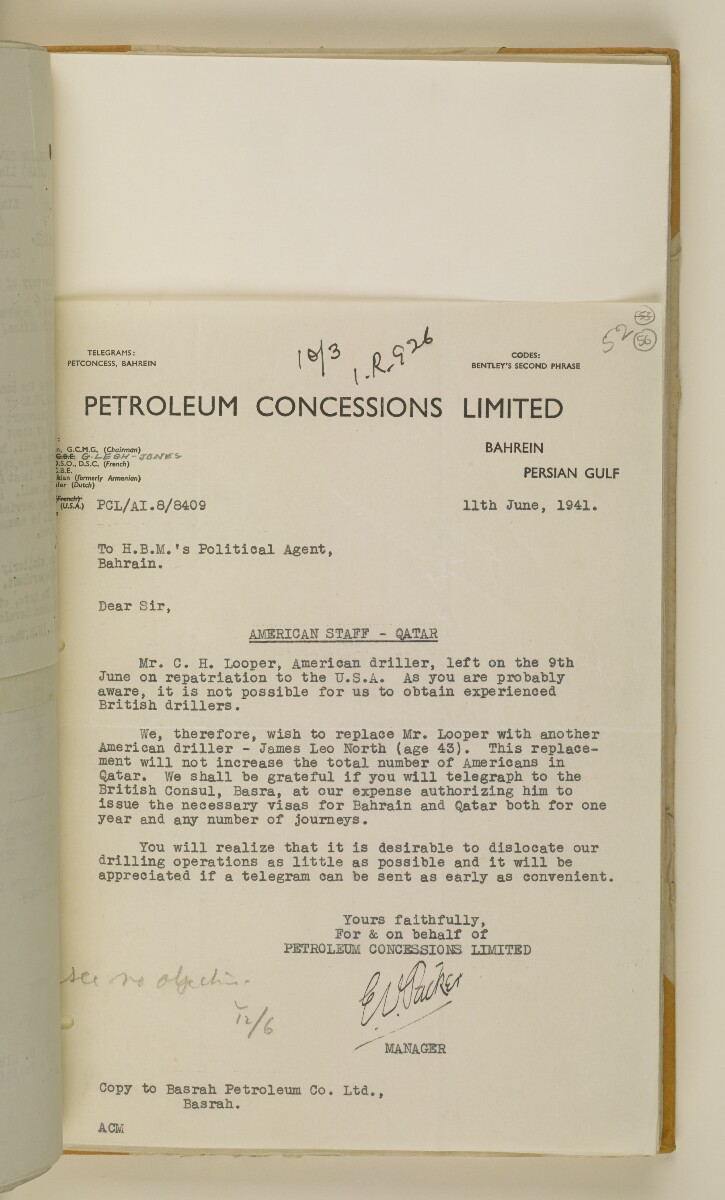 'File 38/3 I, P. C. L. Qatar Concession' [‎56r] (116/484)