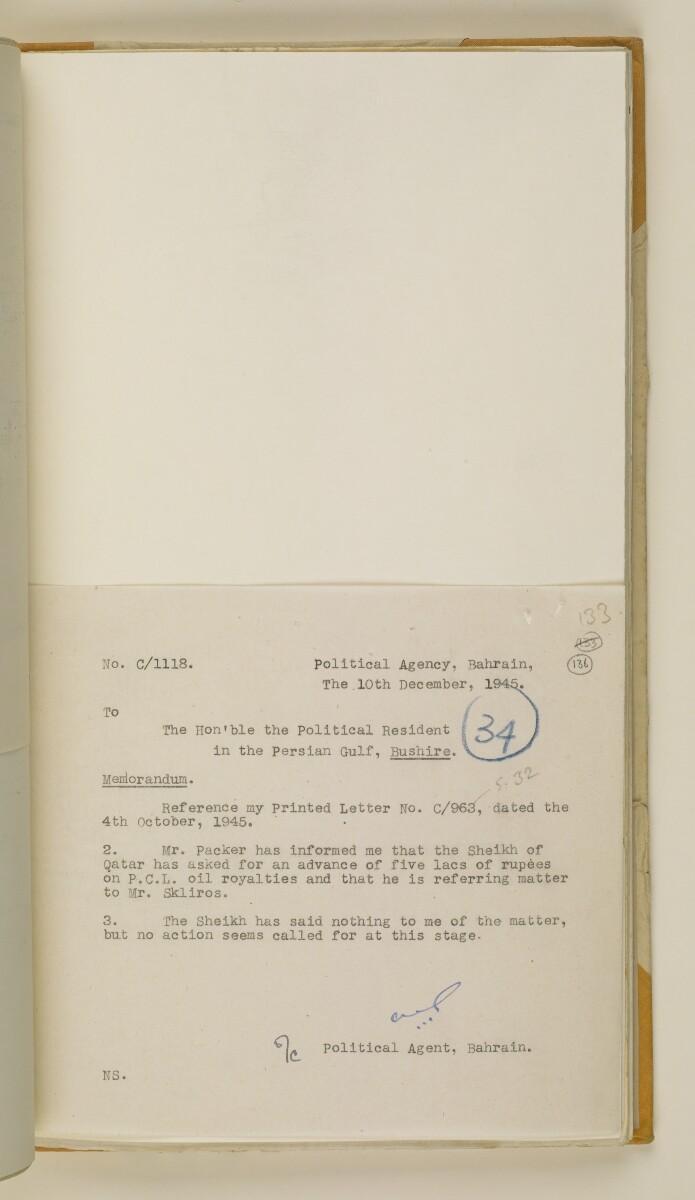 'File 38/3 I, P. C. L. Qatar Concession' [136r] (276/484)