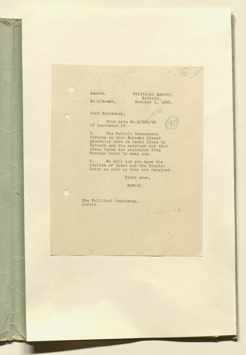 'File 39/23 II Negotiations for seabed oil in Bahrain, Trucial Coast and Qatar' [46r] (91/138)