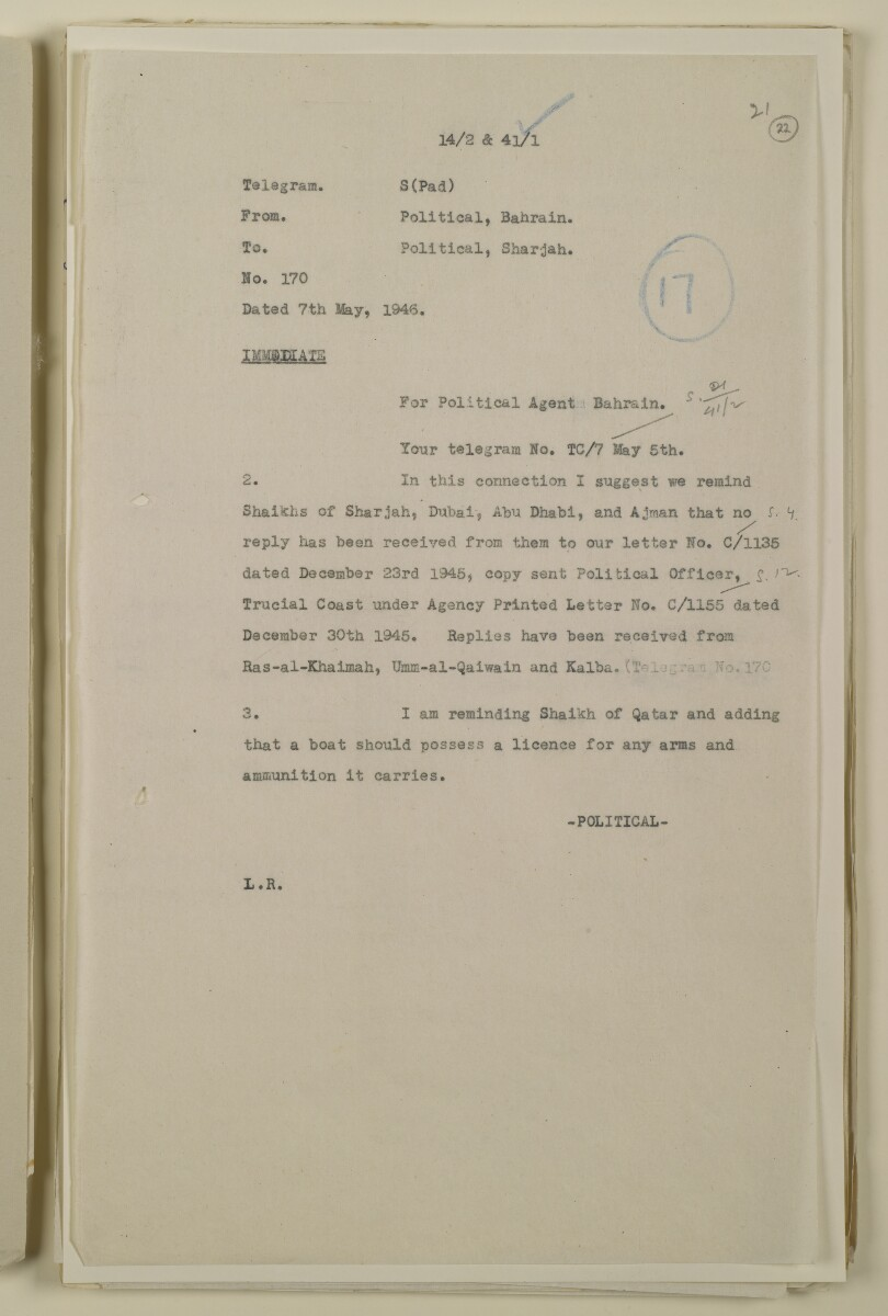 'File 41/1 Licences for Arms carried by Nakhudas' [‎22r] (43/112)