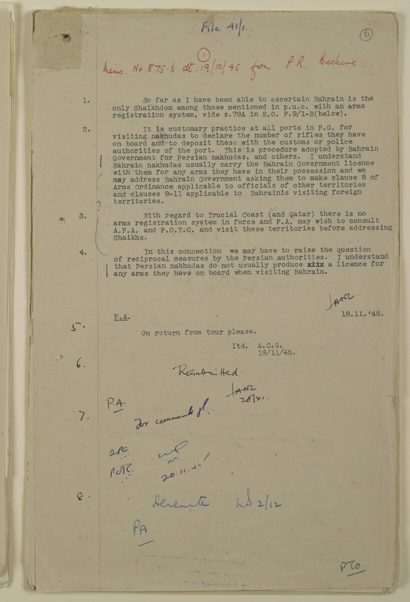 'File 41/1 Licences for Arms carried by Nakhudas' [‎51r] (101/112)