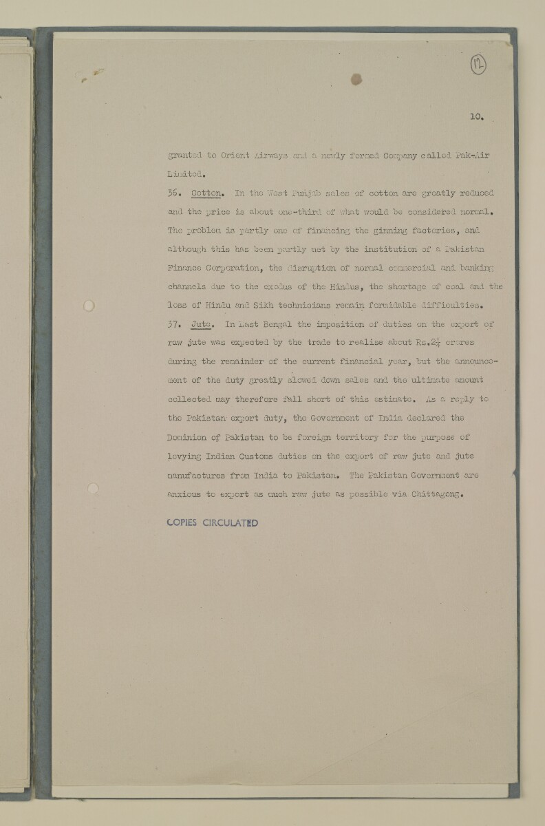 File 8/48 Reports on relations between India and Pakistan' [ 12r