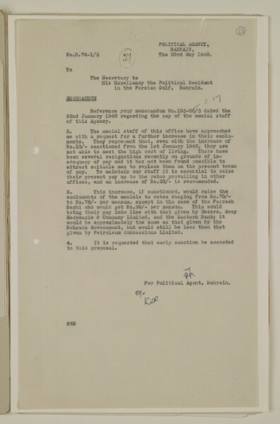 Letter dated 23 May 1948, requesting permission to increase the pay of the menial staff of the Agency in line with that offered by other employers in Bahrain. IOR/R/15/2/977, f. 63