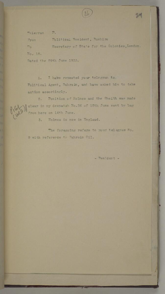 'File 10/1 (Vol III). Oils and Minerals. Bahrain Oil Concession.' [26r] (64/462)
