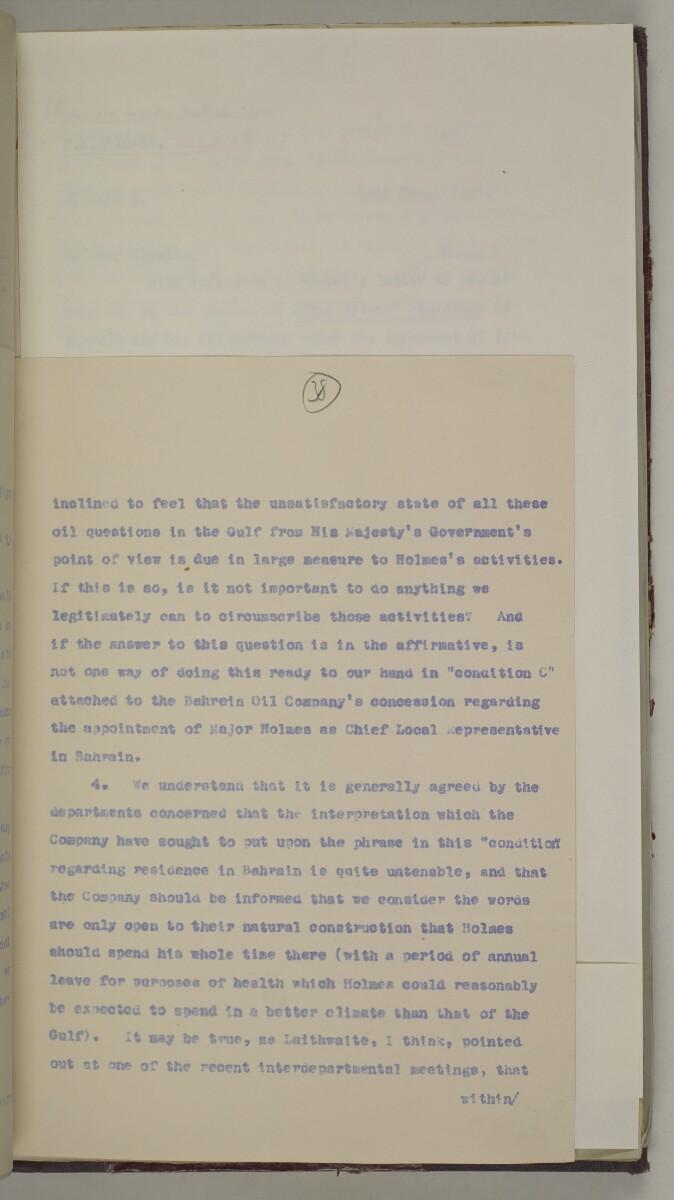 'File 10/1 (Vol III). Oils and Minerals. Bahrain Oil Concession.' [38r] (88/462)