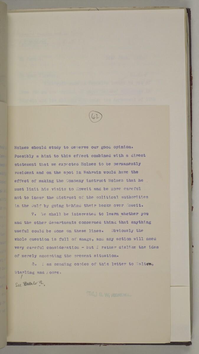 'File 10/1 (Vol III). Oils and Minerals. Bahrain Oil Concession.' [42r] (96/462)