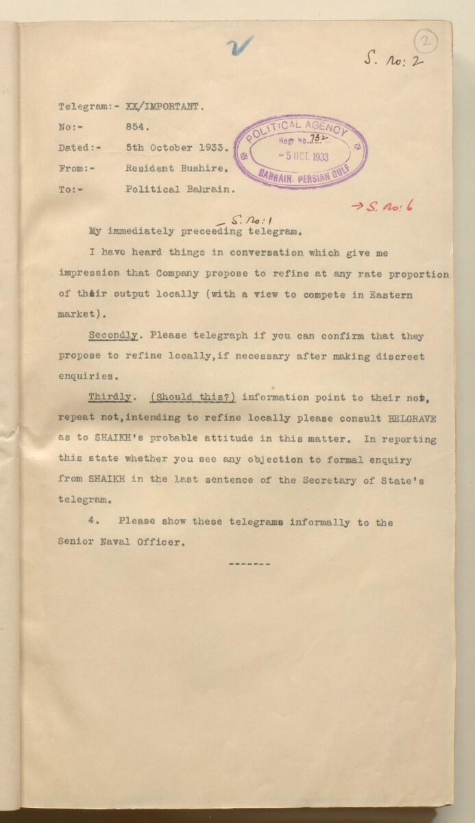 'File 10/1 (Vol V) Oils and Minerals. Bahrain Oil Concession.' [2r] (15/592)