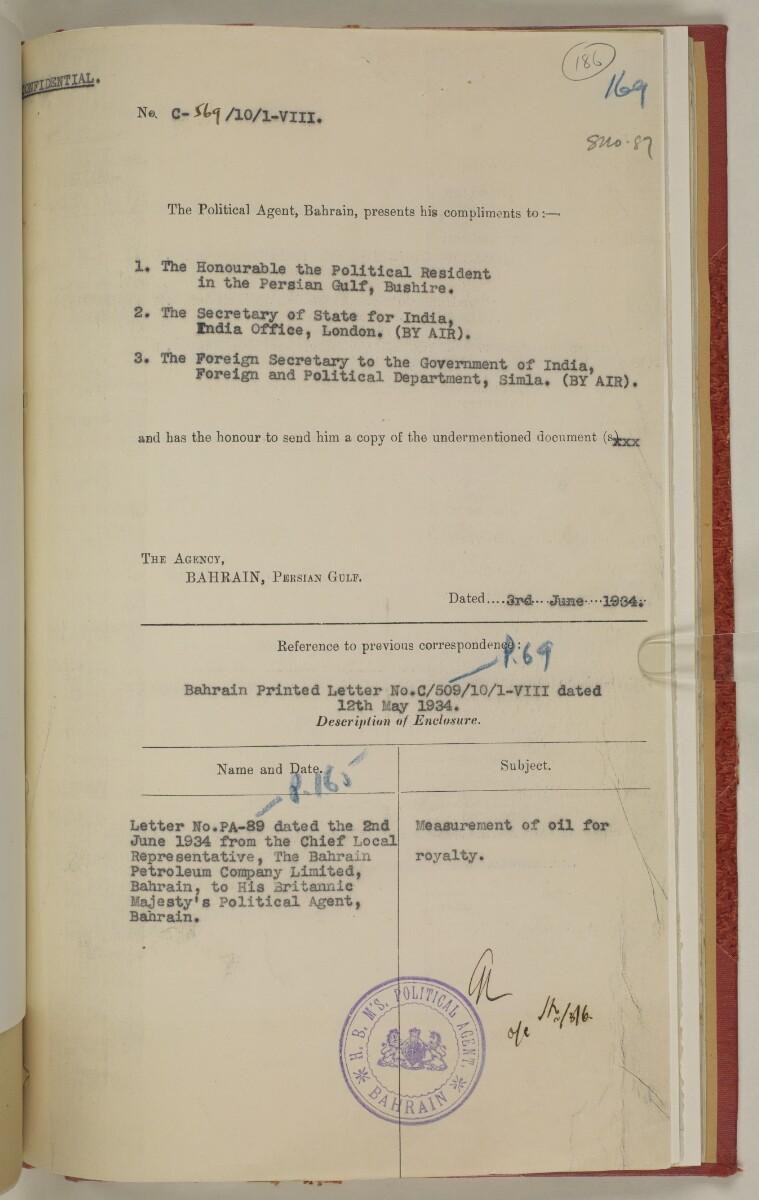 File 10/1 VIII Bahrain Oil Concession [186r] (399/555)