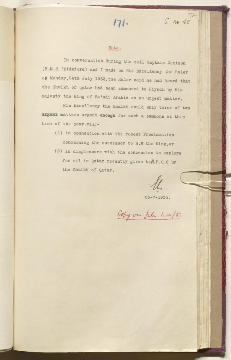 'File 10/3 I Qatar Oil Concession' [172r] (362/468)
