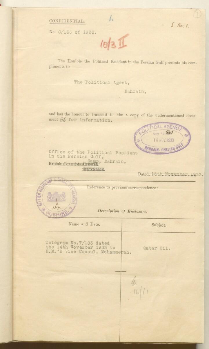 'File 10/3 II Qatar Oil Concession' [1r] (16/520)