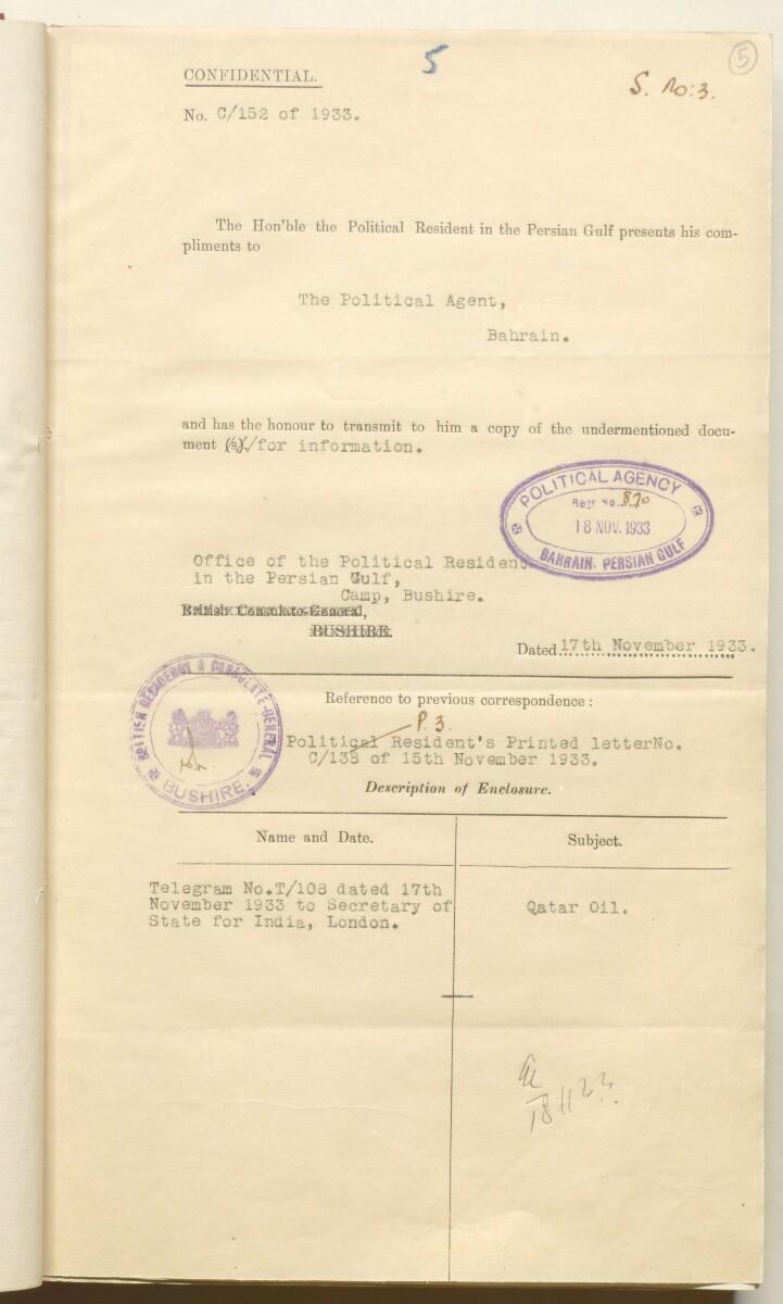 'File 10/3 II Qatar Oil Concession' [5r] (24/520)