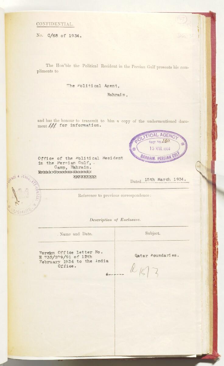 'File 10/3 III Qatar Oil Concession' [147r] (315/470)
