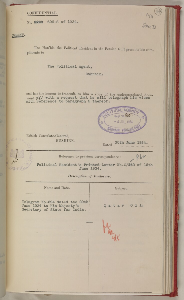'File 10/3 V Qatar Oil Concession' [‎144r] (302/527)