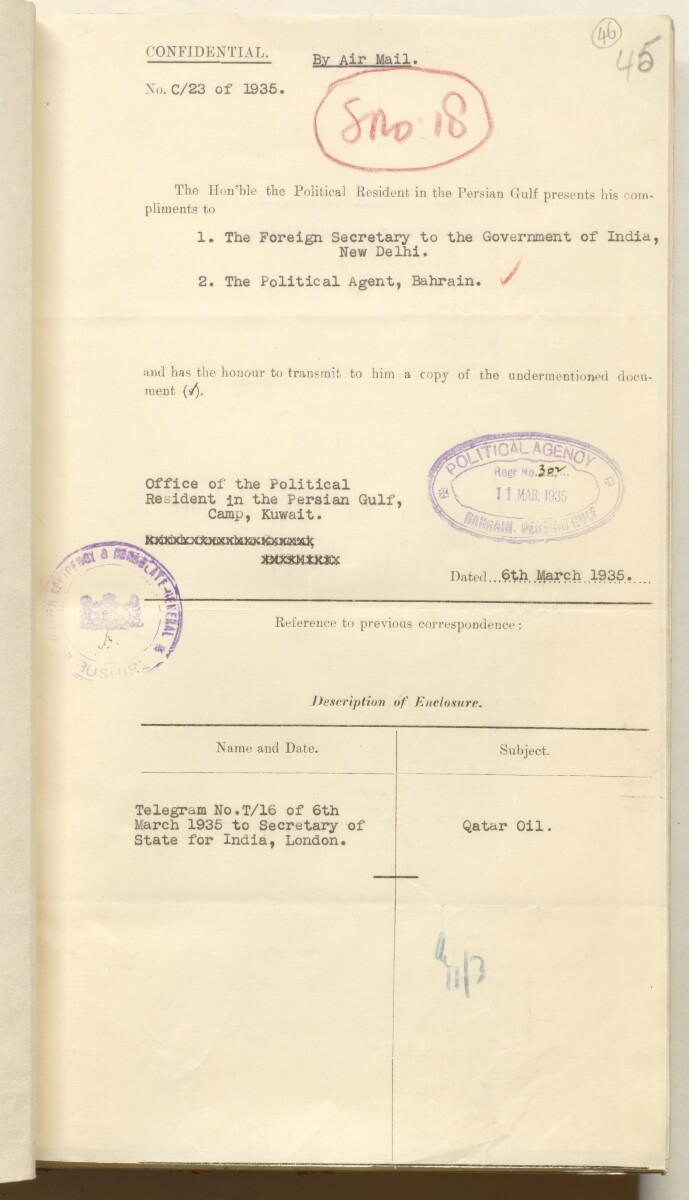 'File 10/3 VII Qatar Oil Concession' [46r] (106/536)