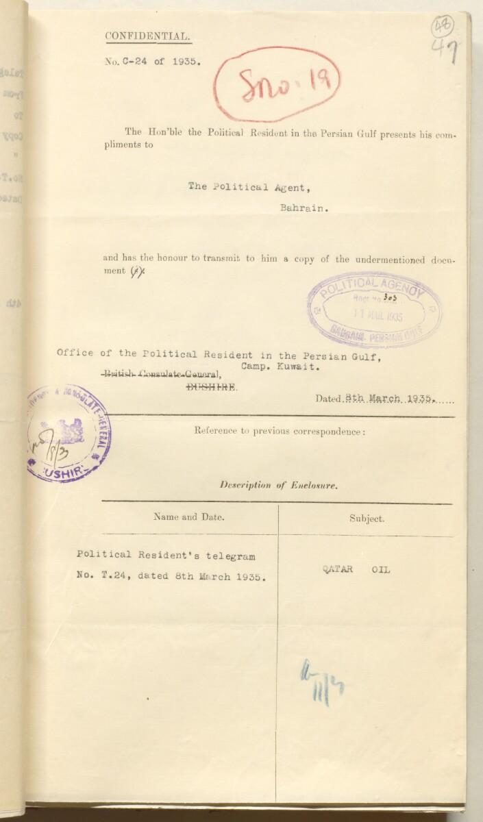'File 10/3 VII Qatar Oil Concession' [48r] (110/536)