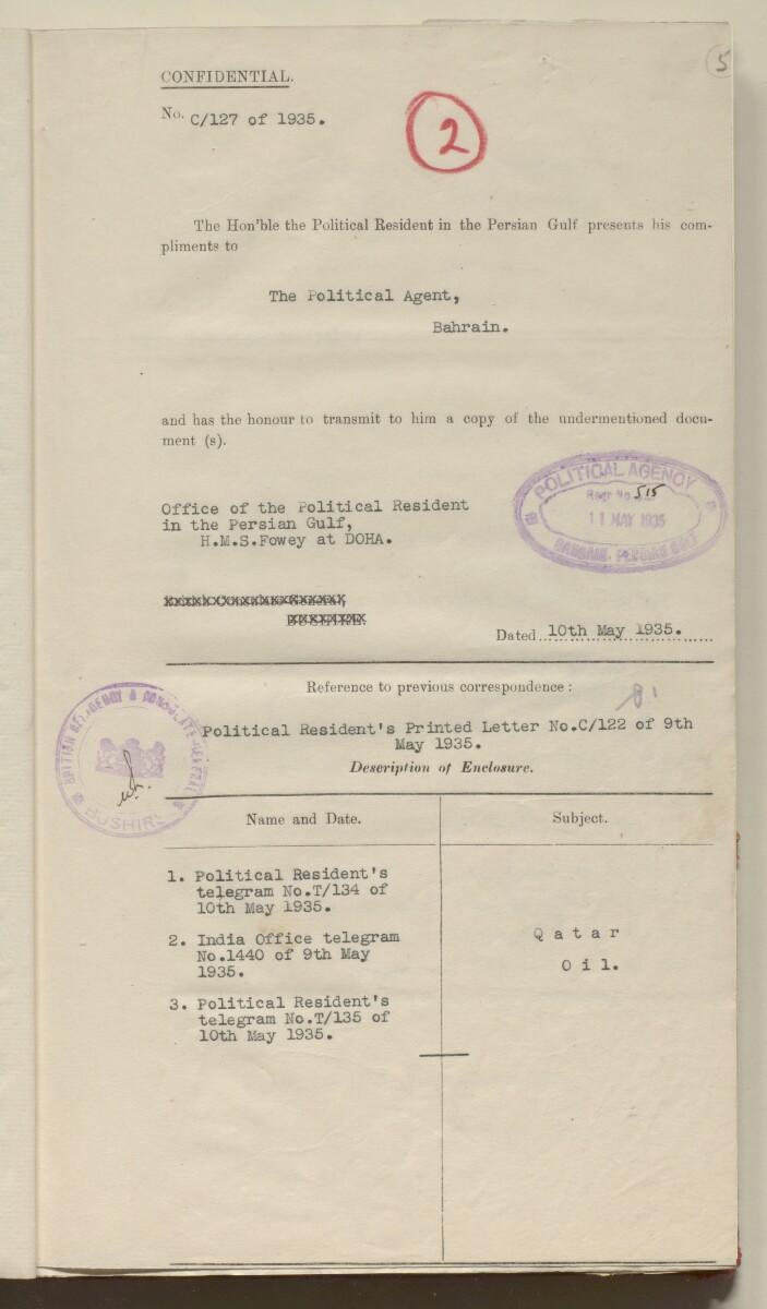 'File 10/3 VIII Qatar Oil Concession' [5r] (13/456)