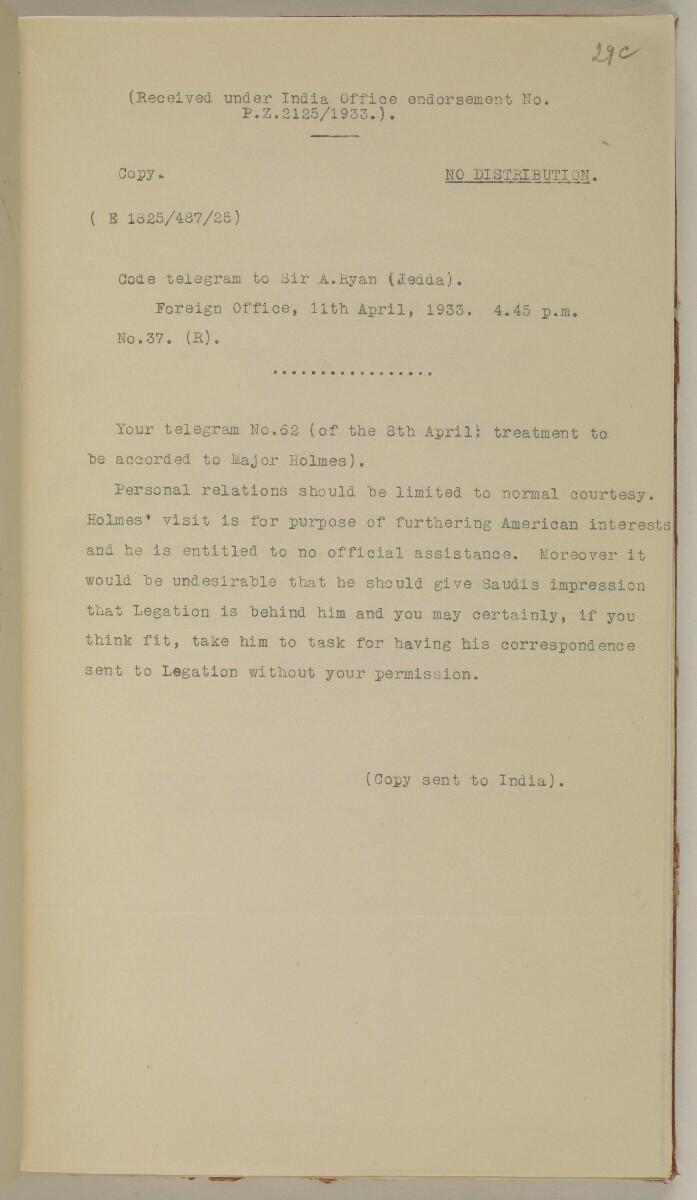 File 10/5 I Saudi Arabia: Hasa Oil Concession; visit of Major Holmes to Saudi Arabia; Kuwait blockade. [29cr] (86/496)