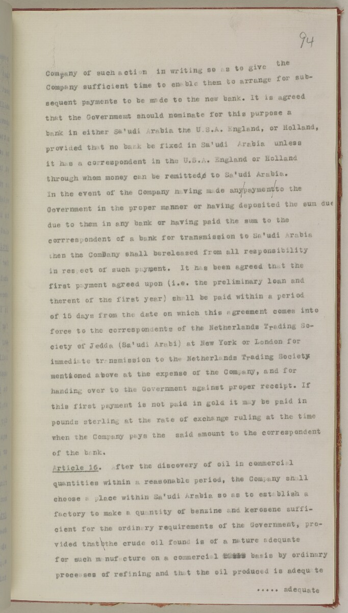 File 10/5 I Saudi Arabia: Hasa Oil Concession; visit of Major Holmes to Saudi Arabia; Kuwait blockade. [‎94r] (216/496)