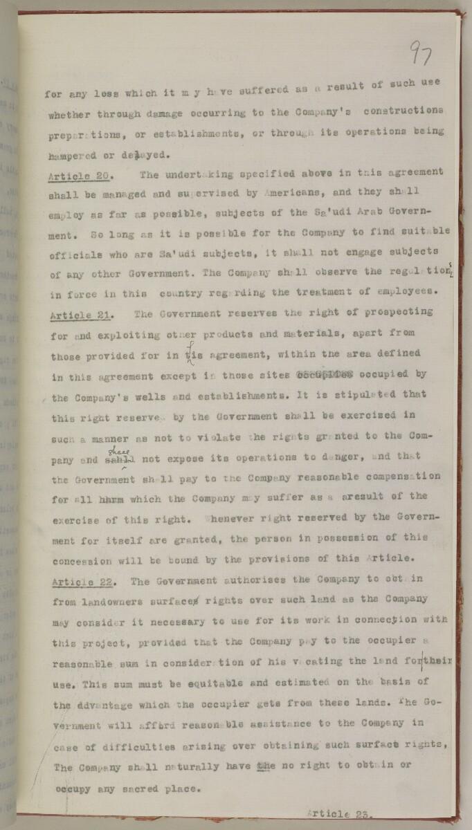 File 10/5 I Saudi Arabia: Hasa Oil Concession; visit of Major Holmes to Saudi Arabia; Kuwait blockade. [97r] (222/496)