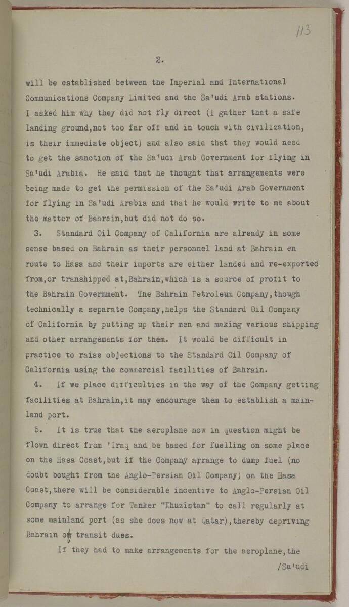 File 10/5 I Saudi Arabia: Hasa Oil Concession; visit of Major Holmes to Saudi Arabia; Kuwait blockade. [113r] (254/496)