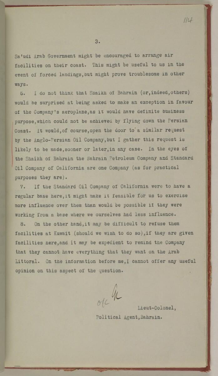 File 10/5 I Saudi Arabia: Hasa Oil Concession; visit of Major Holmes to Saudi Arabia; Kuwait blockade. [114r] (256/496)