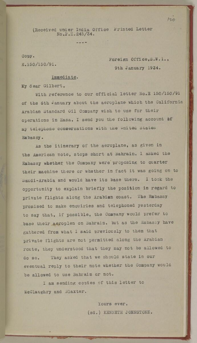 File 10/5 I Saudi Arabia: Hasa Oil Concession; visit of Major Holmes to Saudi Arabia; Kuwait blockade. [120r] (268/496)