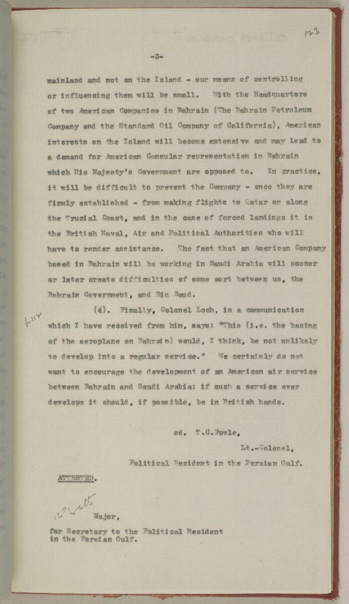 File 10/5 I Saudi Arabia: Hasa Oil Concession; visit of Major Holmes to Saudi Arabia; Kuwait blockade. [‎123r] (274/496)