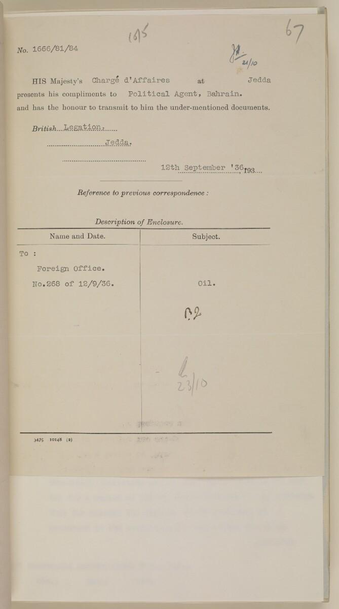 File 10/5 II Hasa oil: CASOC's activities in Hasa; development of Ras Tannura; Political Agent's visit to Hasa [67r] (148/656)