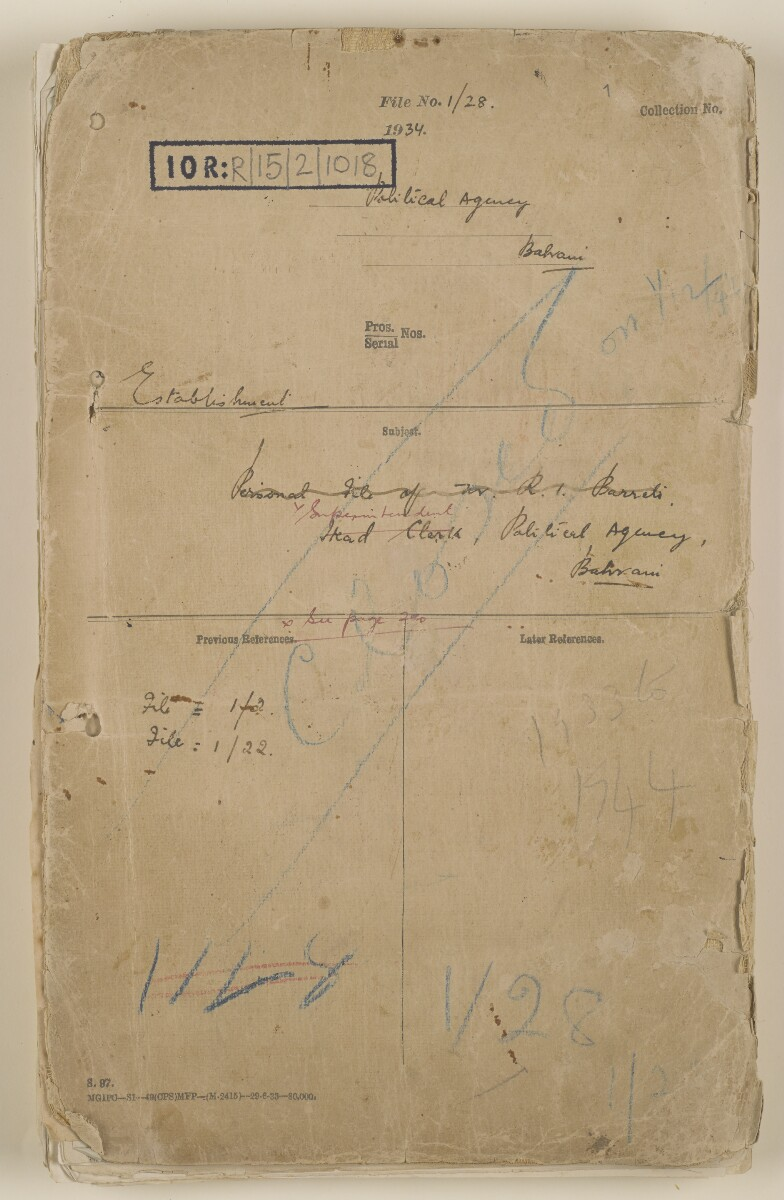 'File 1/28 Superintendent, Political Agency, Bahrain' [‎front] (1/868)