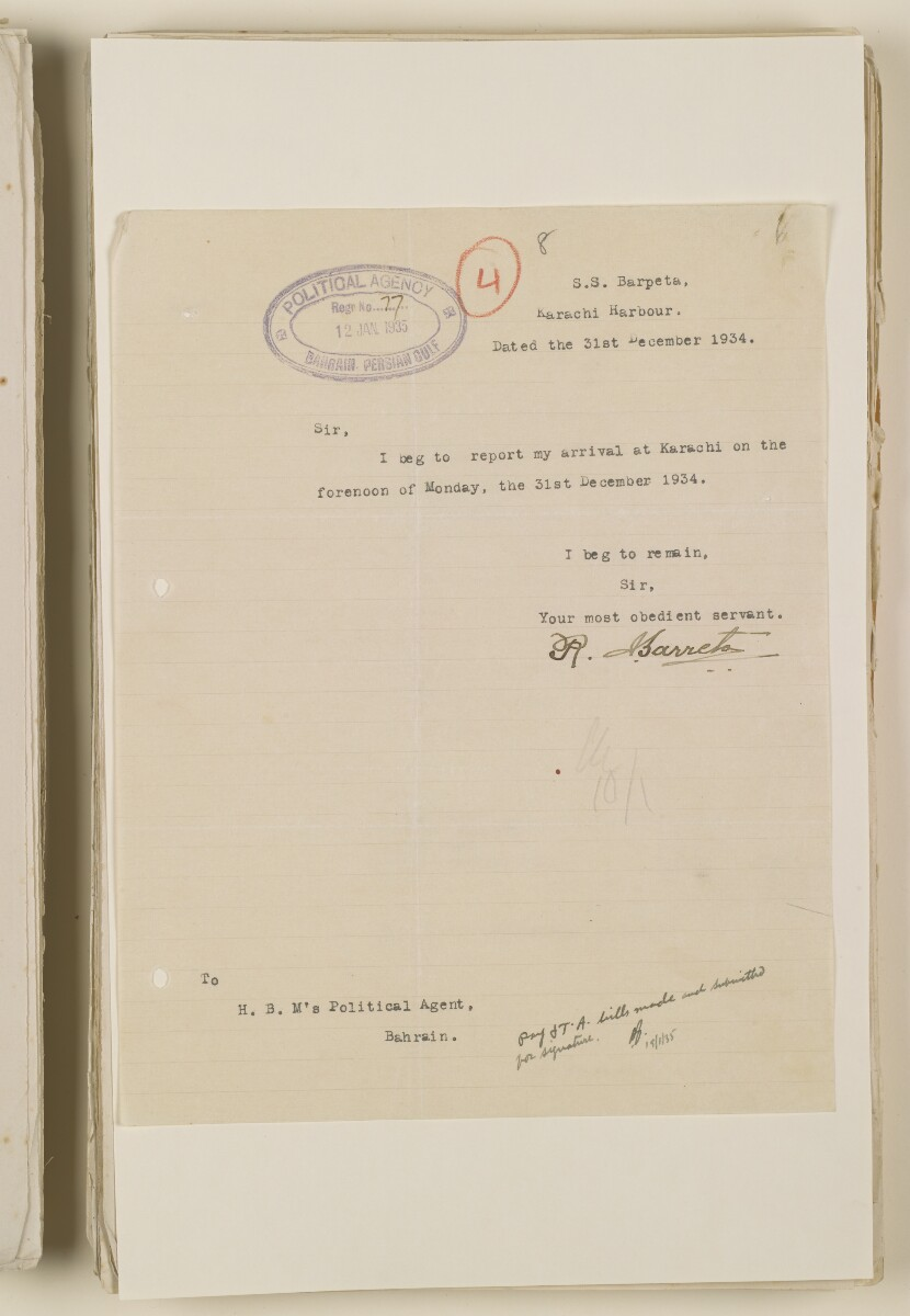'File 1/28 Superintendent, Political Agency, Bahrain' [‎8r] (17/868)