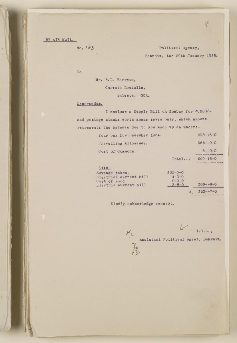 'File 1/28 Superintendent, Political Agency, Bahrain' [9r] (19/868)