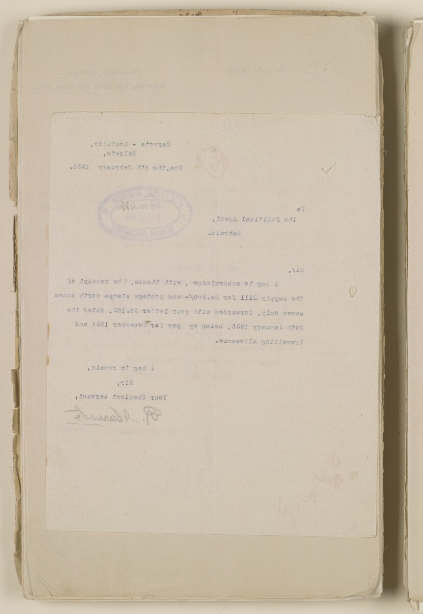 'File 1/28 Superintendent, Political Agency, Bahrain' [11v] (24/868)