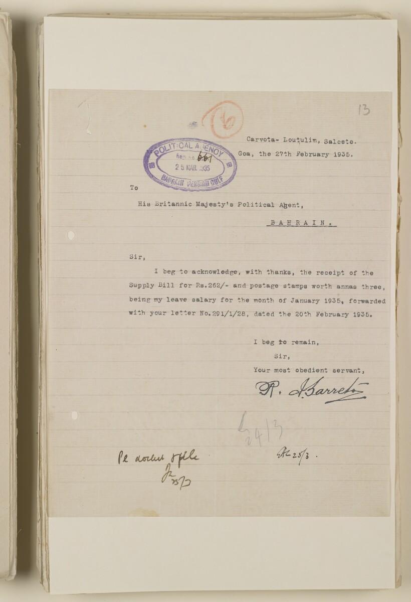 'File 1/28 Superintendent, Political Agency, Bahrain' [13r] (27/868)