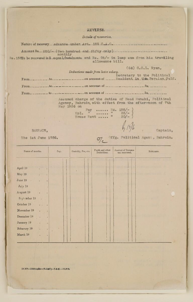'File 1/29 I Head Munshi, Bahrain' [12v] (29/436)