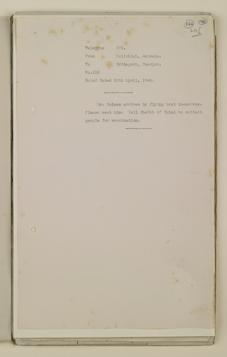 'File 2/14 Outbreaks of smallpox, cholera and other diseases on the Trucial Coast' [244r] (487/808)