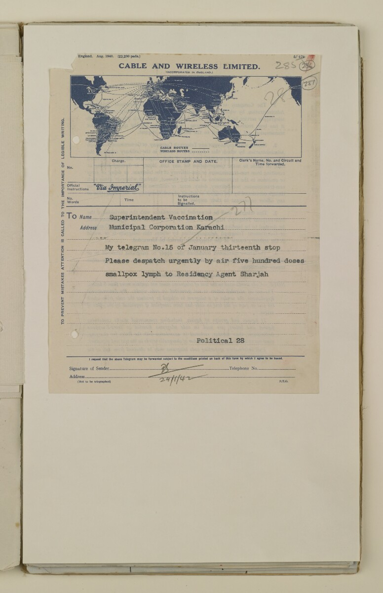 'File 2/14 Outbreaks of smallpox, cholera and other diseases on the Trucial Coast' [‎287r] (573/808)