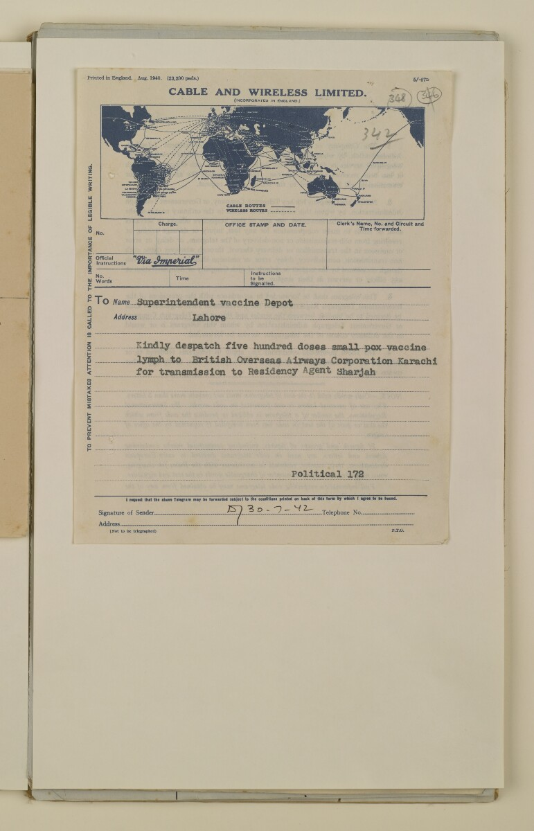 'File 2/14 Outbreaks of smallpox, cholera and other diseases on the Trucial Coast' [‎348r] (695/808)